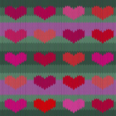 ジェイドの背景にピンクのハートとニットウールシームレスなパターン。バレンタインデー 写真素材 - 93708920