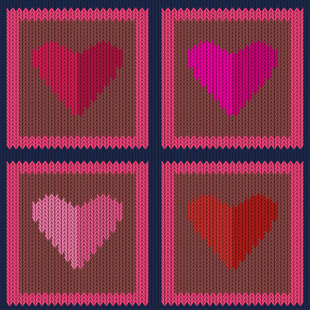 Knitted woolen seamless pattern with pink hearts in light brown squares. Valentines Day Illustration
