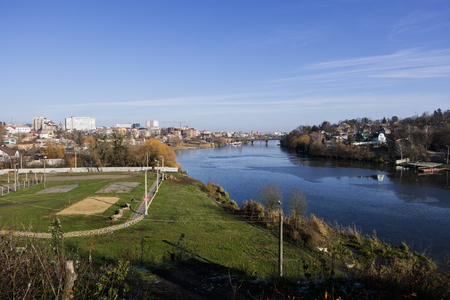 Southern Bug river in the late autumn.  (Ukraine, Vinnitsa) Stock Photo