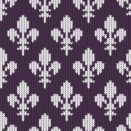 Fleur-de-lis on a seamless vector woolen pattern. Knitted woolen pattern with Heraldic lilies. White royal lilies on purple Illustration