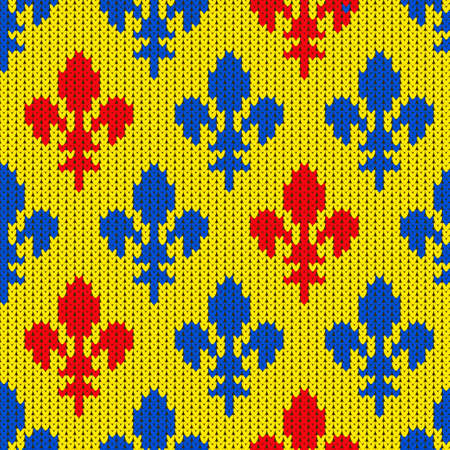 Flower-de-luce on a seamless vector woolen pattern. Knitted woolen pattern with Heraldic lilies. Pattern of blue and red lilies on a yellow Stock Vector - 94076186