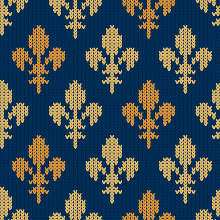 Fleur-de-lis on a seamless vector woolen pattern. Knitted woolen pattern with Heraldic golden royal lilies on blue Illusztráció
