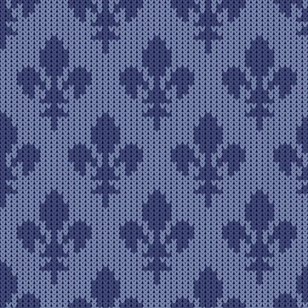 Heraldic lily on a seamless vector woolen pattern. Knitted woolen pattern with bourbon lilies. Lily of French House of Bourbon on a vintage blue background