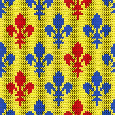 Flower-de-luce on a seamless vector woolen pattern. Knitted woolen pattern with Heraldic lilies. Pattern of blue and red lilies on a yellow