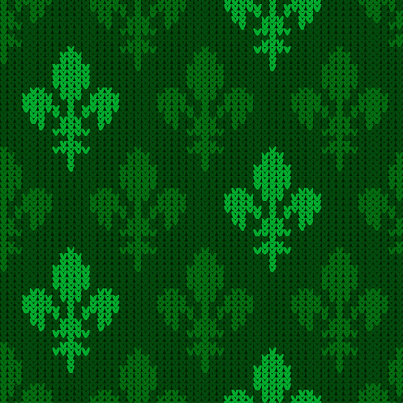Heraldic lily on a seamless vector woolen pattern. Knitted woolen pattern with bourbon lilies. Flower-de-luce of green tones