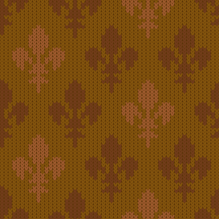 Heraldic lily on a seamless vector woolen pattern. Knitted woolen pattern with bourbon lilies. Fleur-de-lis in mustard vintage style