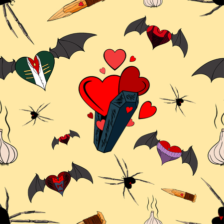 Seamless pattern with vampires theme for the Valentine Day