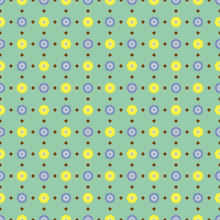 Seamless pattern with delicate spring flowers on a pastel green background