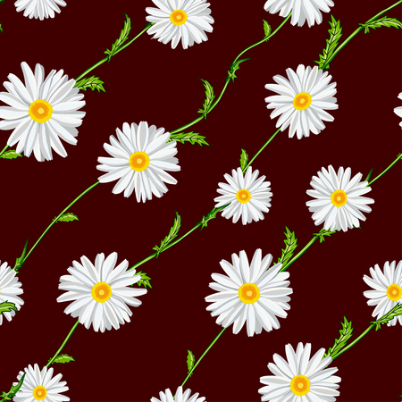 Seamless pattern from field chamomiles on stems diagonally on claret background.