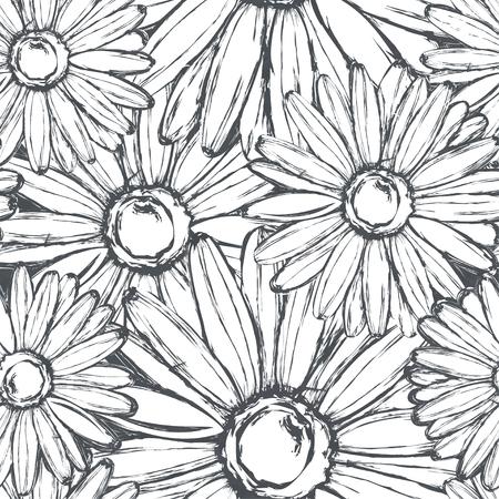 Seamless pattern of chalk chamomiles on a shabby slate.