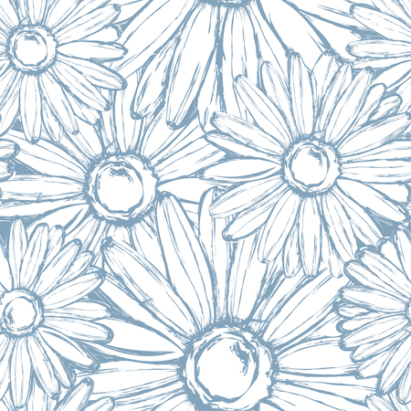 Seamless pattern of chalk chamomiles on a vintage blue.