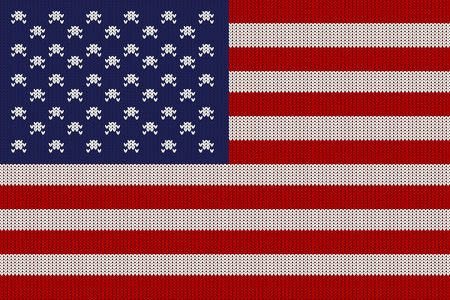 Flag of the United States of America on vector knitted woolen texture. Knitted flag of USA Vector illustration.