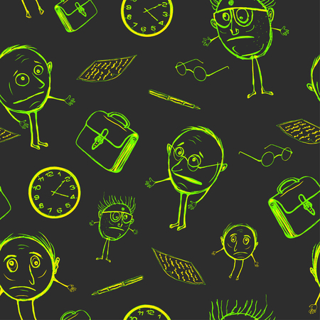 Seamless pattern of office plankton. Stupid scientists in children's style and acid tones Vector illustration.