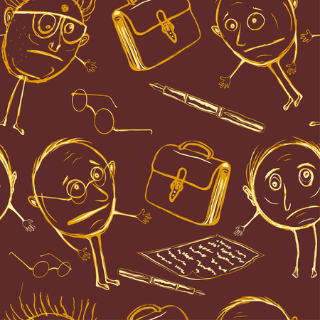 Seamless pattern of office plankton. Silly officials in the children's style Vector illustration. Vectores