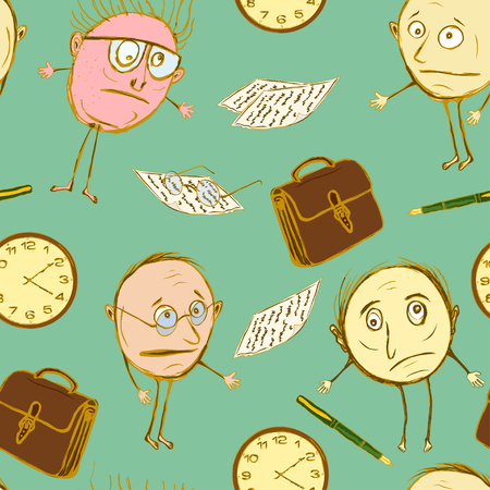 Seamless pattern of office plankton. Silly officials in the children's style Vectores