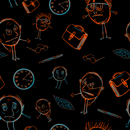 Colored line faces, glassed and briefcases on a black background