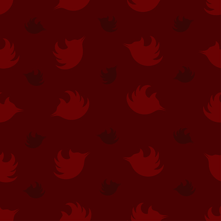Seamless pattern with silhouettes of woodpeckers in burgundy tones.
