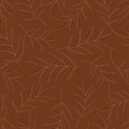 Seamless pattern from leaves of mountain ash in brown tones