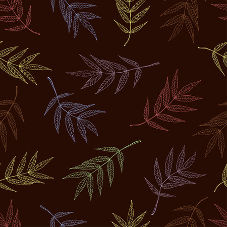 Seamless pattern of leaves mountain ash in pastel colors on a dark background