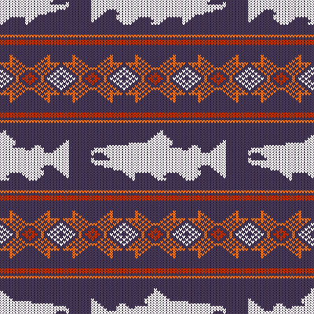 Knitted seamless pattern with Norwegian salmon 일러스트