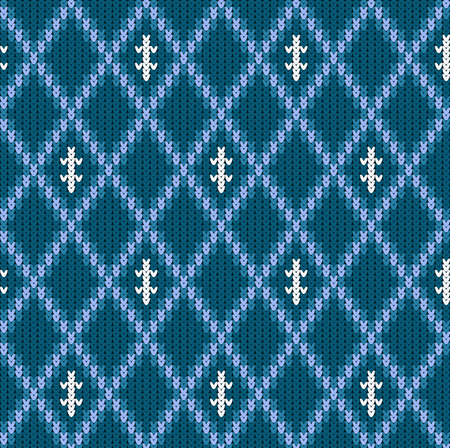 Knitted woolen seamless jacquard ornament. Blue jacquard pattern