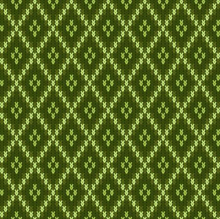 Ornement jacquard sans couture en laine tricotée. Motif jacquard vert Vecteurs
