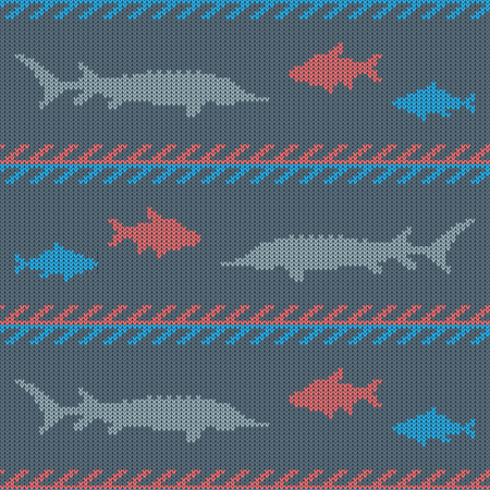 Knitted woolen seamless pattern with commercial fish. Bream and sturgeon Stock Illustratie