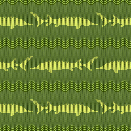 Knitted woolen seamless pattern with sturgeons in vintage green tones Vettoriali