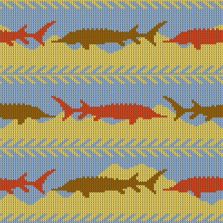 Knitted woolen seamless pattern with sturgeons. Yellow sand and blue water