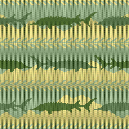Knitted woolen seamless pattern with sturgeons. Yellow sand and green water Illustration