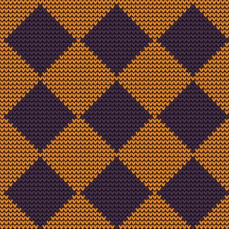 Seamless woolen knitted pattern orange-violet Harlequin
