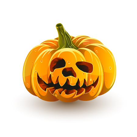 Funny jack-o-lantern. Halloween pumpkin isolated on white background. Funny toothy Halloween pumpkin