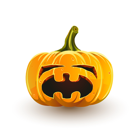 Crying Halloween pumpkin. Jack-o'-lantern for Halloween isolated on white background