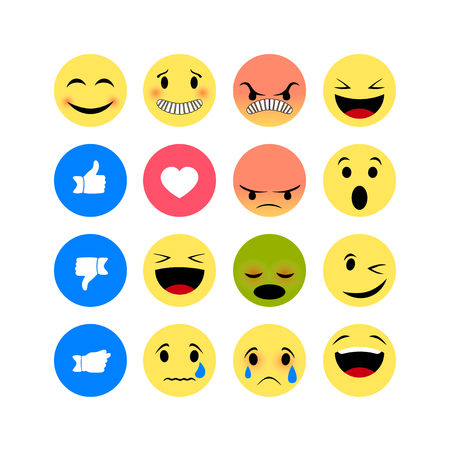 Icônes d'émotion isolés sur fond blanc. Icône Emoji drôle