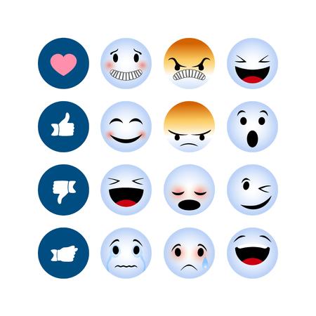 Winter emotion icons isolated on white background. Funny winter Emoji icons 일러스트