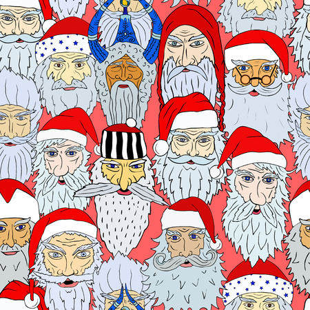 Seamless Christmas pattern of Santa Claus heads from different countries