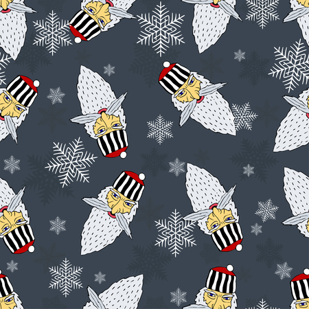 Seamless Christmas pattern of the heads of the prison Santa Claus with snowflakes 向量圖像