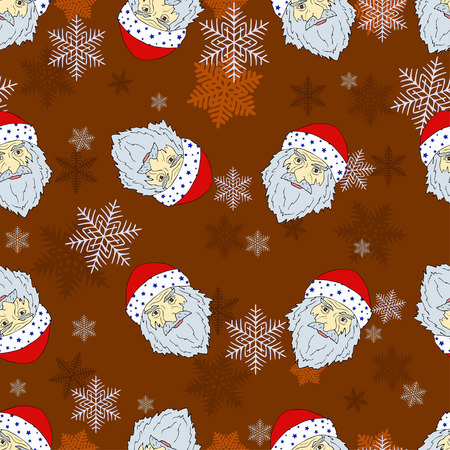 Seamless Christmas pattern of the heads of the Romany Santa Claus with snowflakes