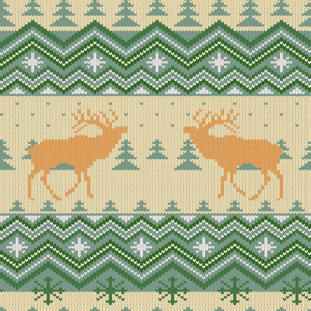 Christmas knitted woolen seamless pattern with red deer in conifer forest