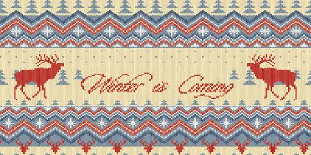 Zima nadchodzi. Boże Narodzenie zima dzianiny wełniany wzór z jelenia w lesie iglastym