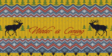Winter is Coming. Christmas Winter knitted woolen seamless pattern with red deer in fir forest Ilustracje wektorowe