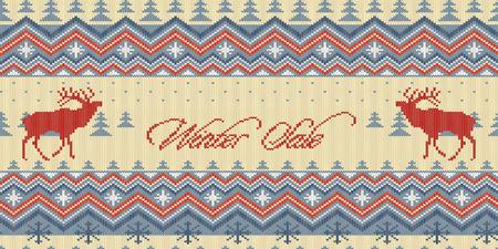 Winter Sale. Deer in conifer forest  イラスト・ベクター素材