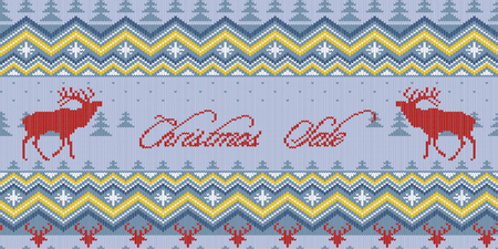 Christmas Sale. Winter knitted woolen seamless pattern with red deer and Scandinavian ornament