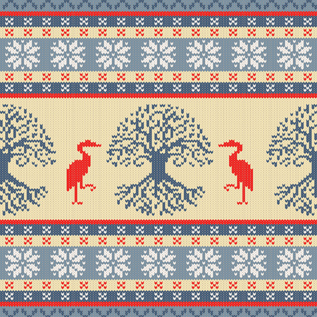 Celtic Tree of Life and Crane. Knitted woolen seamless ornament