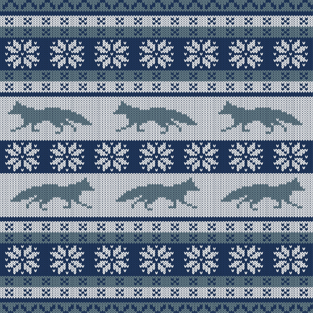 Knitted scandinavian seamless ornament with a running fox and snowflakes