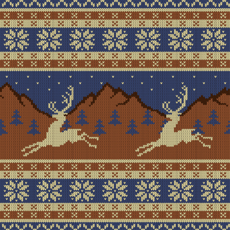 Knitted wool tapestry with deers on a background of mountains, starry sky and spruce forest