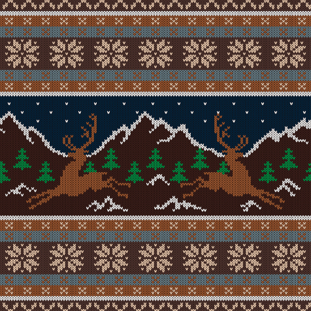 Knitted wool tapestry with deers on a background of snow-capped mountains and a starry sky
