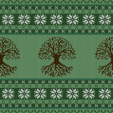 Knitted woolen seamless ornament with the Celtic Tree of Life and snowflakes