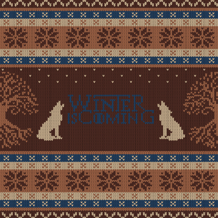 Winter is Coming. Weirwood tree and howling wolves. Knitted woolen seamless pattern