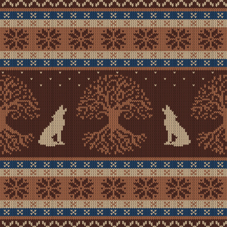 Winter knitted woolen seamless pattern with Tree of life and howling wolves